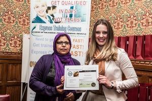 Rachel Fanshawe receives her certificate from Baroness Uddin