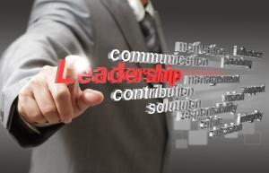 business man hand touch virtual 3d leadership skill