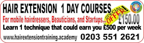 1 day hair extension course for just 150.00 UK